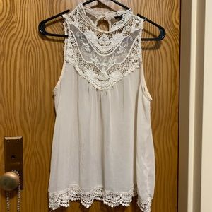 Lace high neck sheer sleeveless top